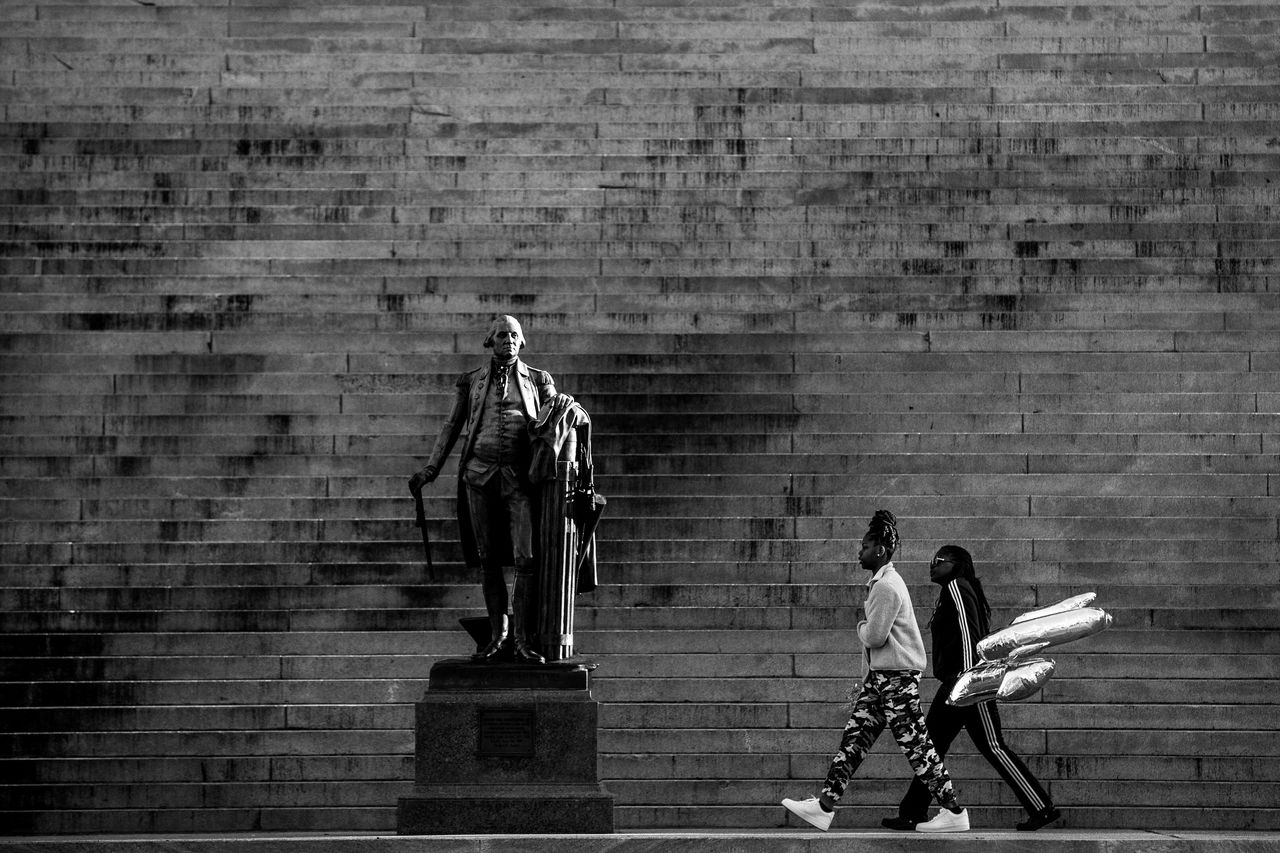 The statue of George Washington on the steps of the South Carolina Statehouse in Columbia, South Carolina.
