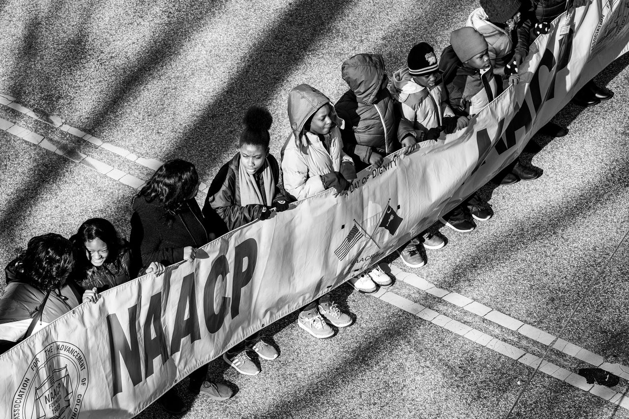 Young kids of color march to the South Carolina Statehouse from Zion Baptist Church in Columbia, South Carolina.