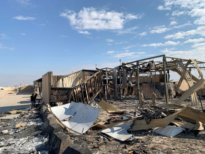 A view of the damage at Ain al-Asad military airbase housing U.S. and other foreign troops in the western Iraqi province of A