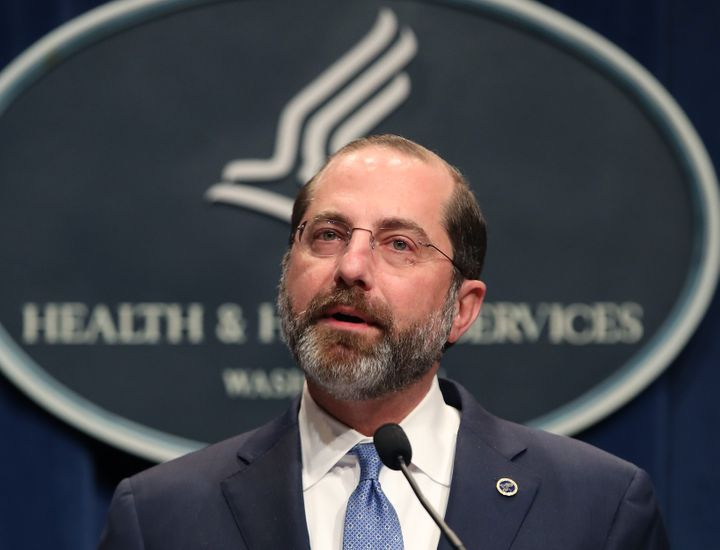 HHS Secretary Alex Azar speaks about the coronavirus during a press briefing on the administration's response to COVID-19 at