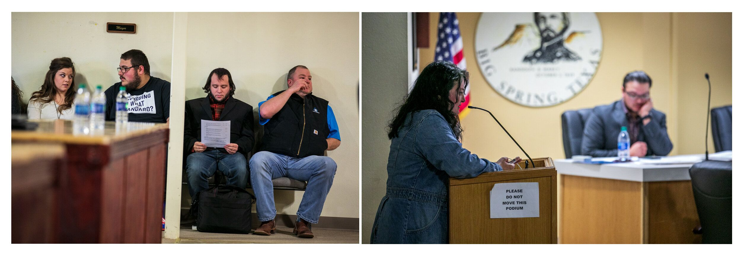 Left: Mark Lee Dickson waits his turn to speak at the Big Spring city council meeting. Right: Stephanie Vela Anders