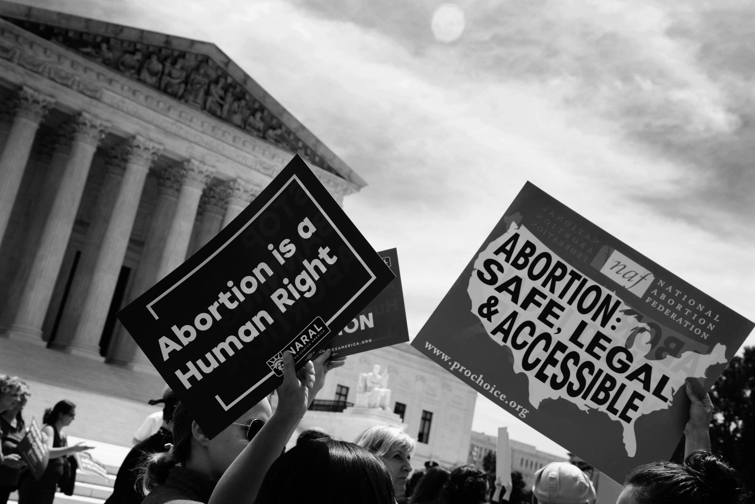 Abortion rights activists outside the U.S. Supreme Courton May 21, 2019, to protest against abortion laws passed across