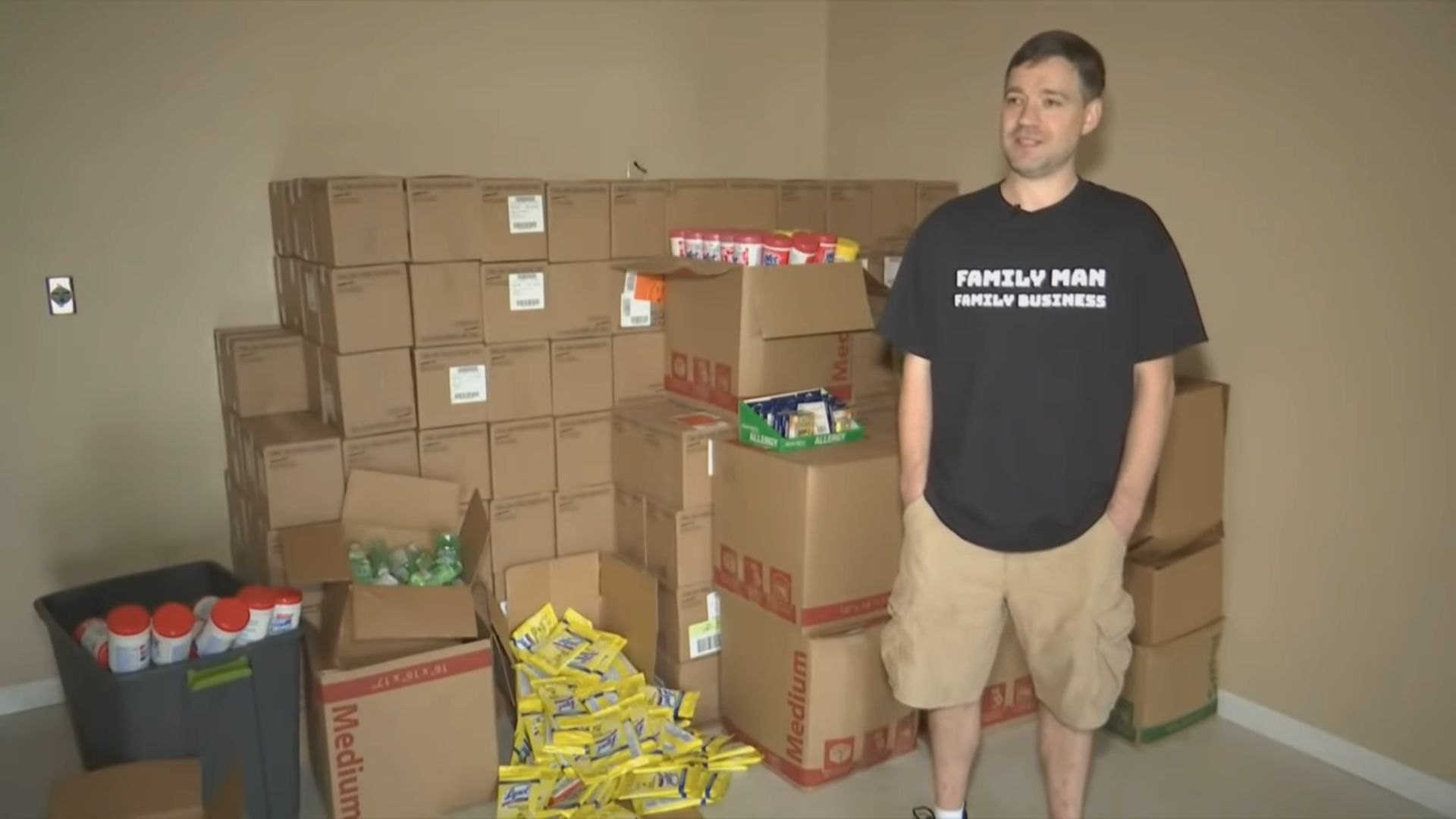 Matt Colvin stands with medical supplies that he said he purchased from stores in Tennessee and Kentucky to sell online for a