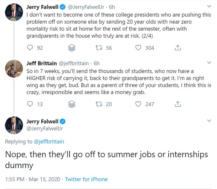 Jerry Falwell Jr.'s Twitter conversation with a man claiming to be a parent of Liberty University students is captured in thi