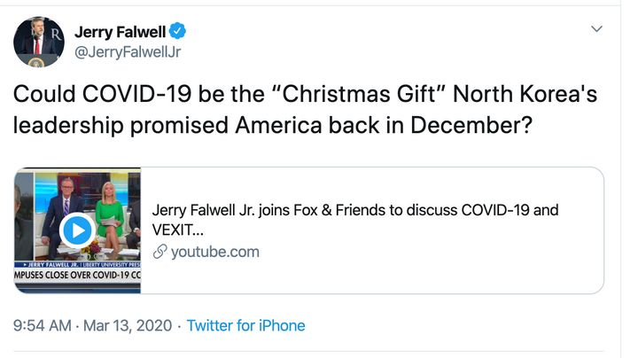 """Jerry Falwell Jr. advertises his """"Fox & Friends"""" interview on Twitter."""