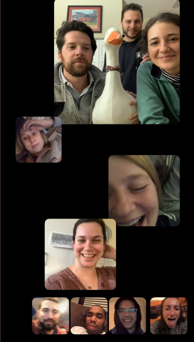 Tyler and his friends on their FaceTime party, affectionately referred to as an all-hands meeting.