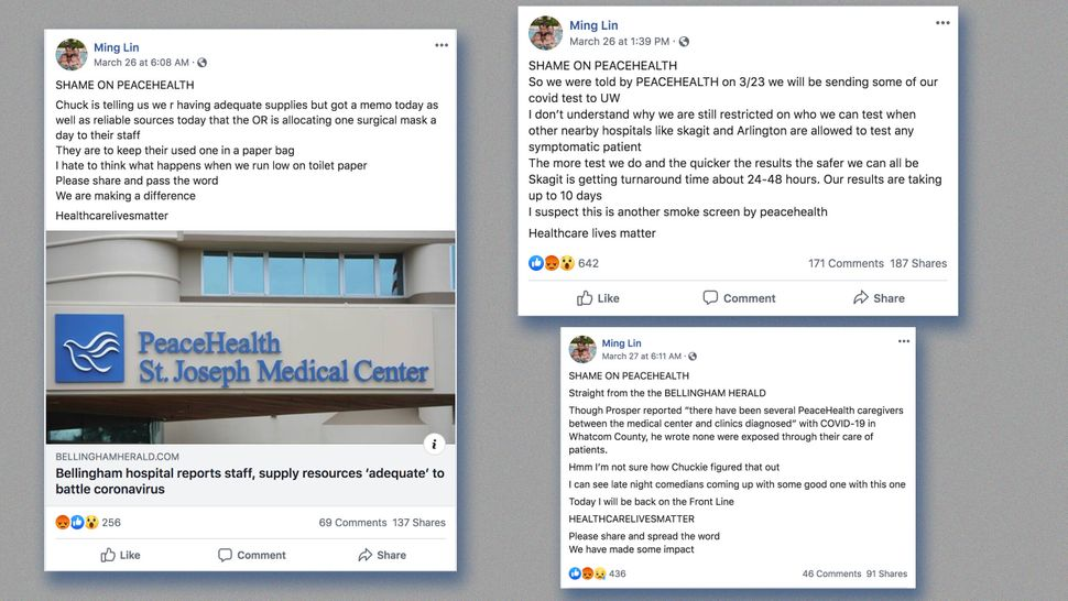Facebook posts by physician Ming Lin criticizing St. Joseph Medical Center before he was terminated.
