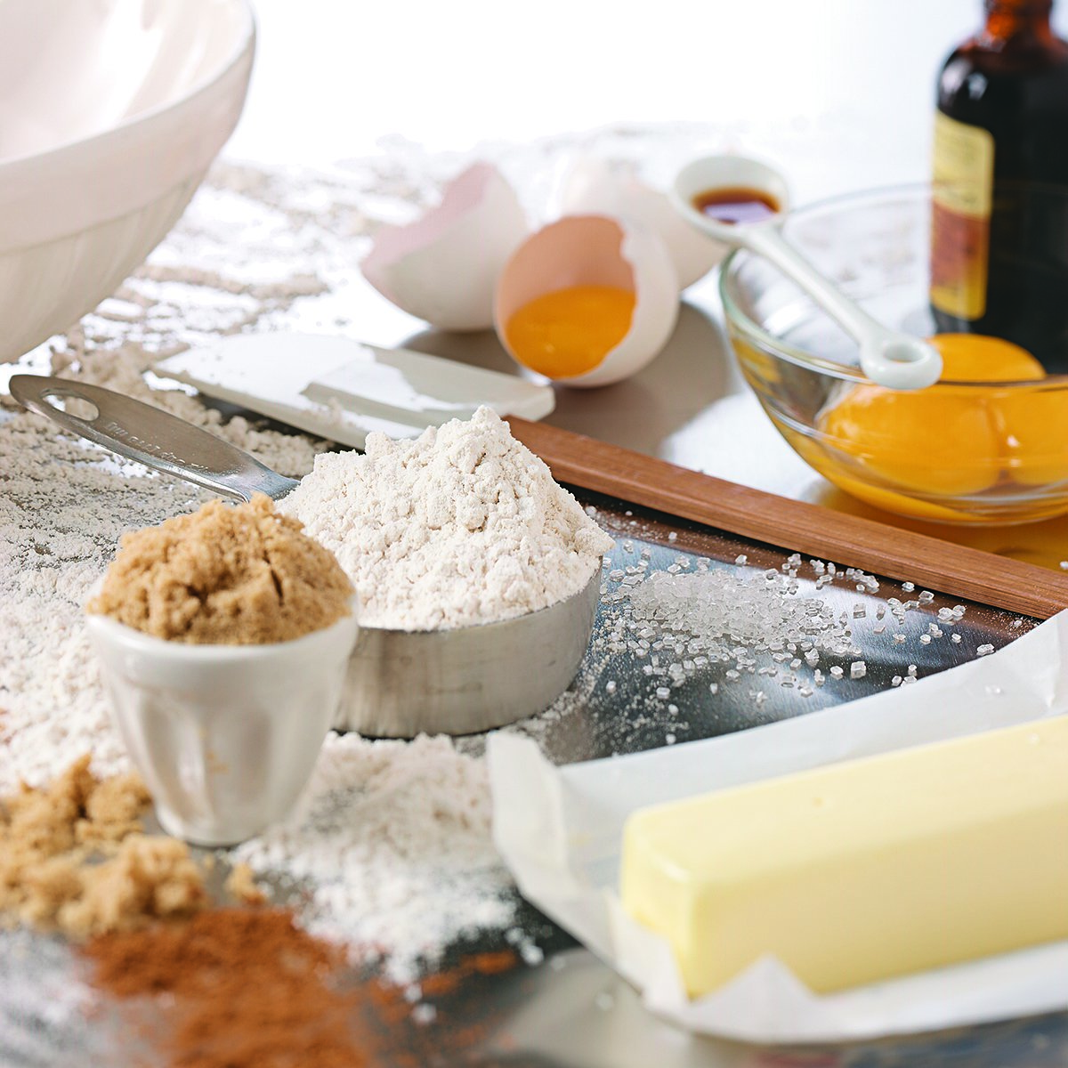 baking mixing bowl and measuring spoons