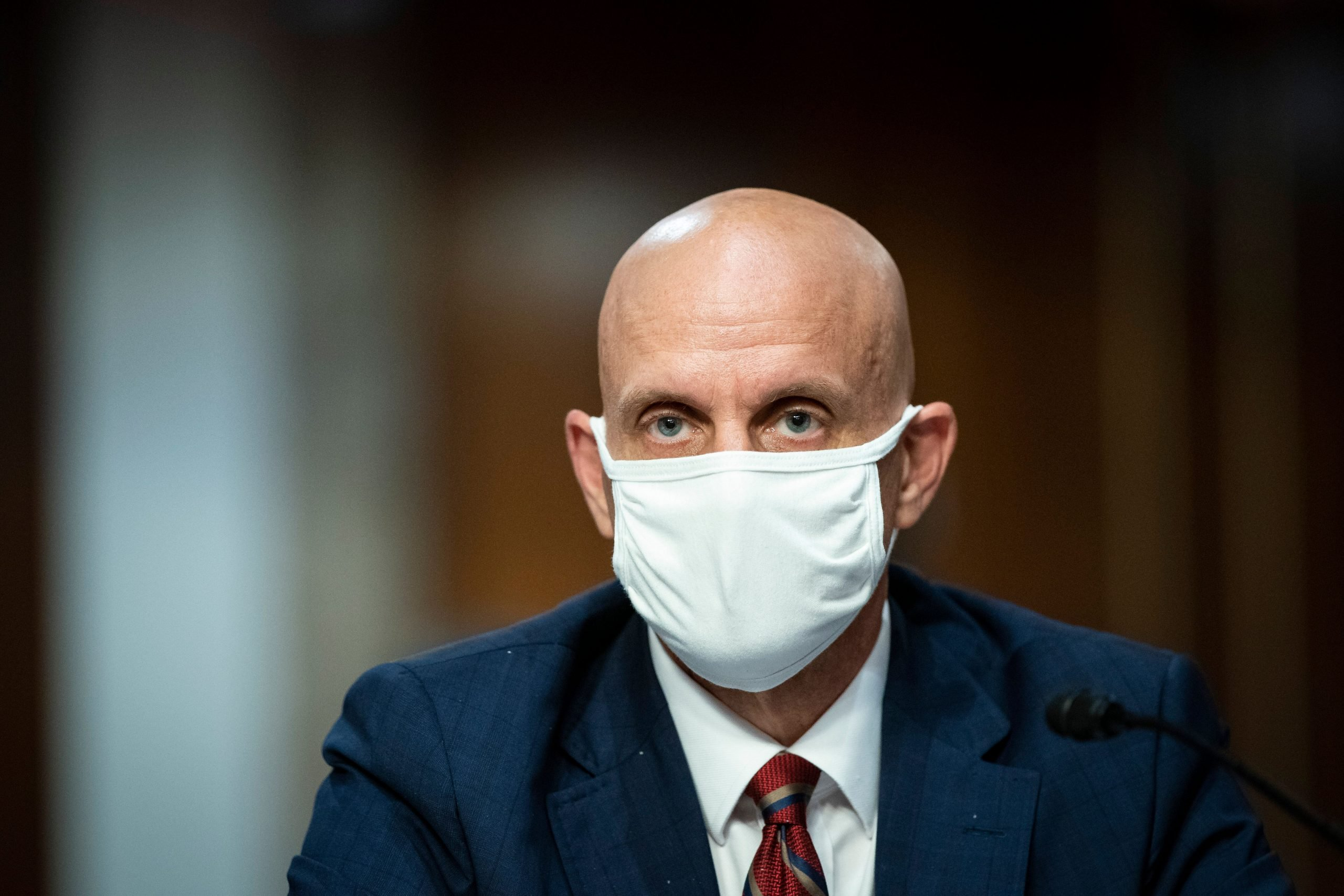 Dr. Stephen Hahn wears a face mask during a Senate hearing in Washington on June 30.