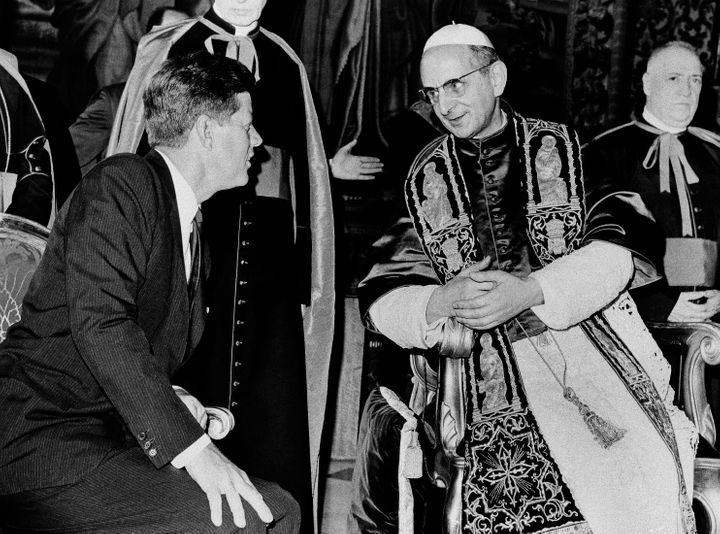 President John F. Kennedy talks to Pope Paul VI at the Vatican in this July 2, 1963, Kennedy, the first and only Roman Cathol