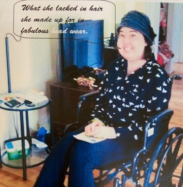 The author in her wheelchair after a doctor's appointment.