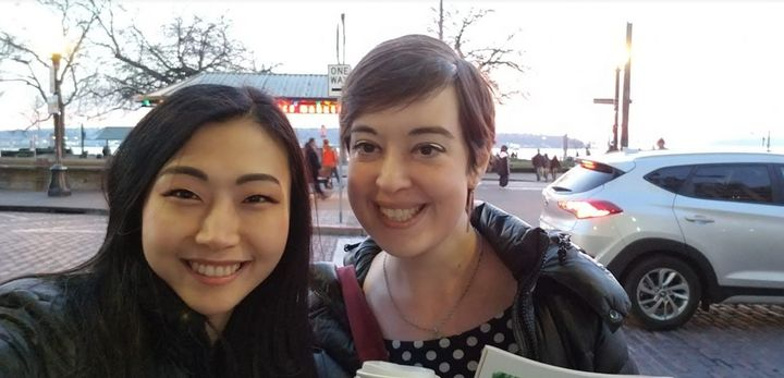 The author (right) during a trip to Seattle to visit her best friend, Haeyoon, two years after her recovery.