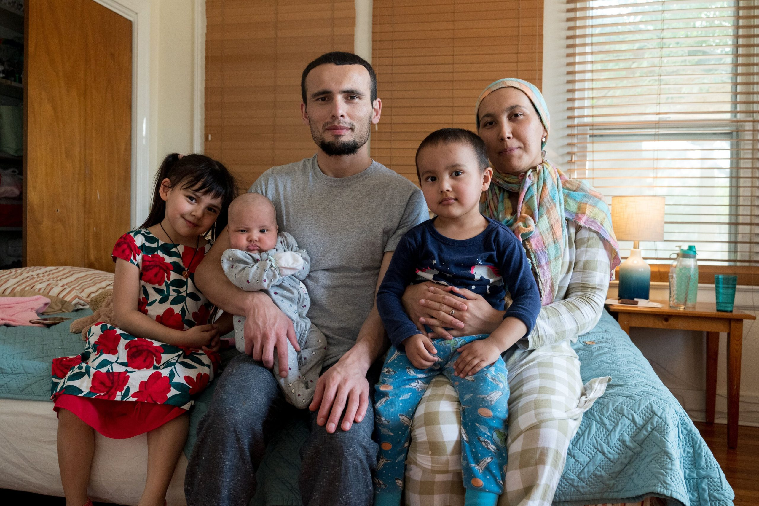 Muhammad spends time with his wife and three children at the San Antonio shelter.