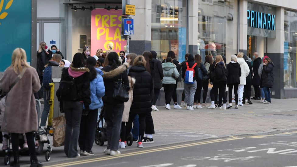A queue of shoppers outside Primark in Brighton