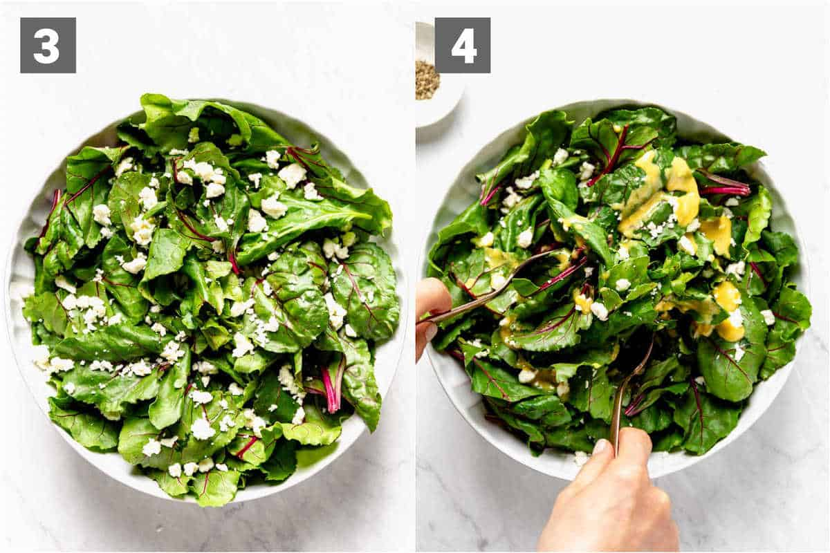 assemble the greens with feta and add the dressing