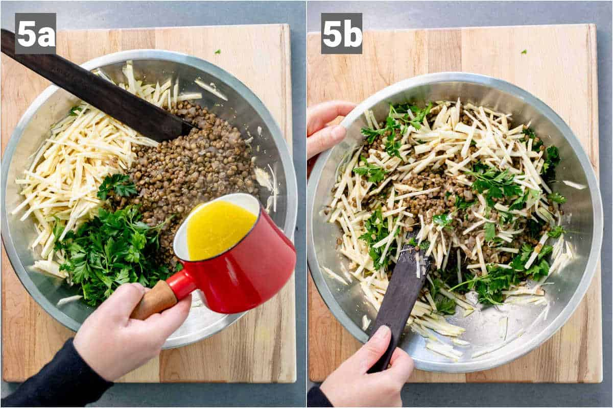 pour the dressing over the ingredients and toss to coat