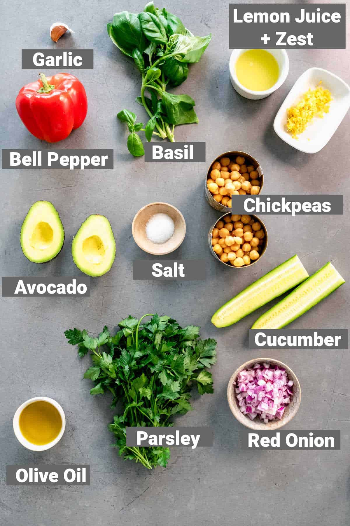 ingredients for the salad with labels