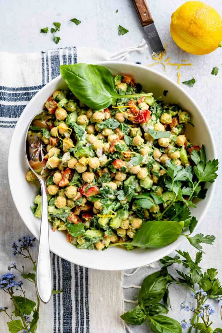close-up of chickpea salad