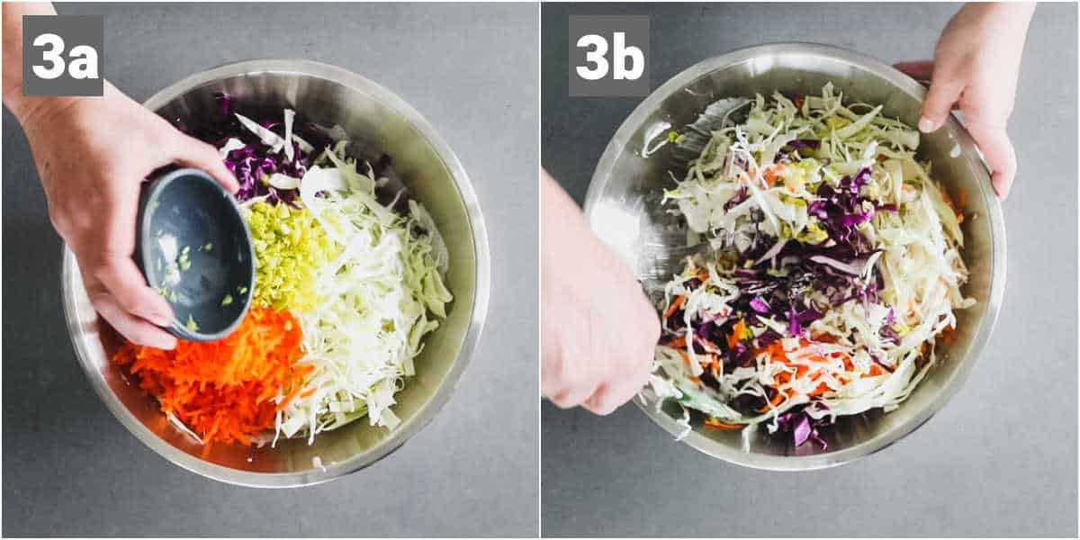 mixing the coleslaw