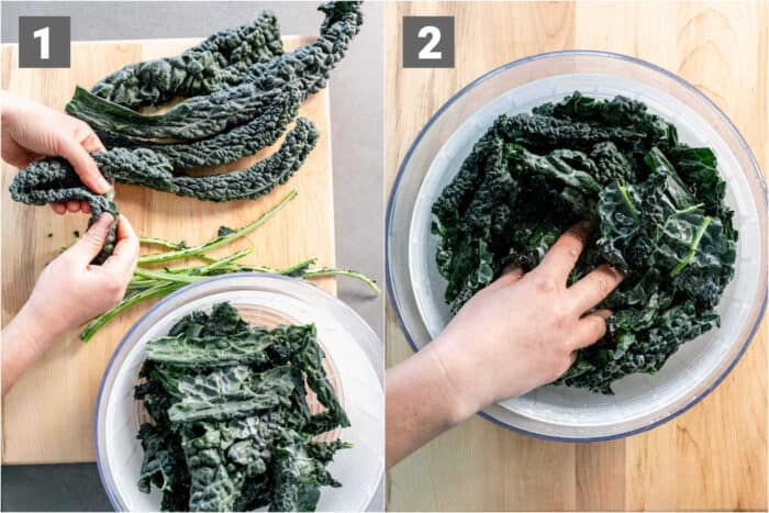 cleaning the kale