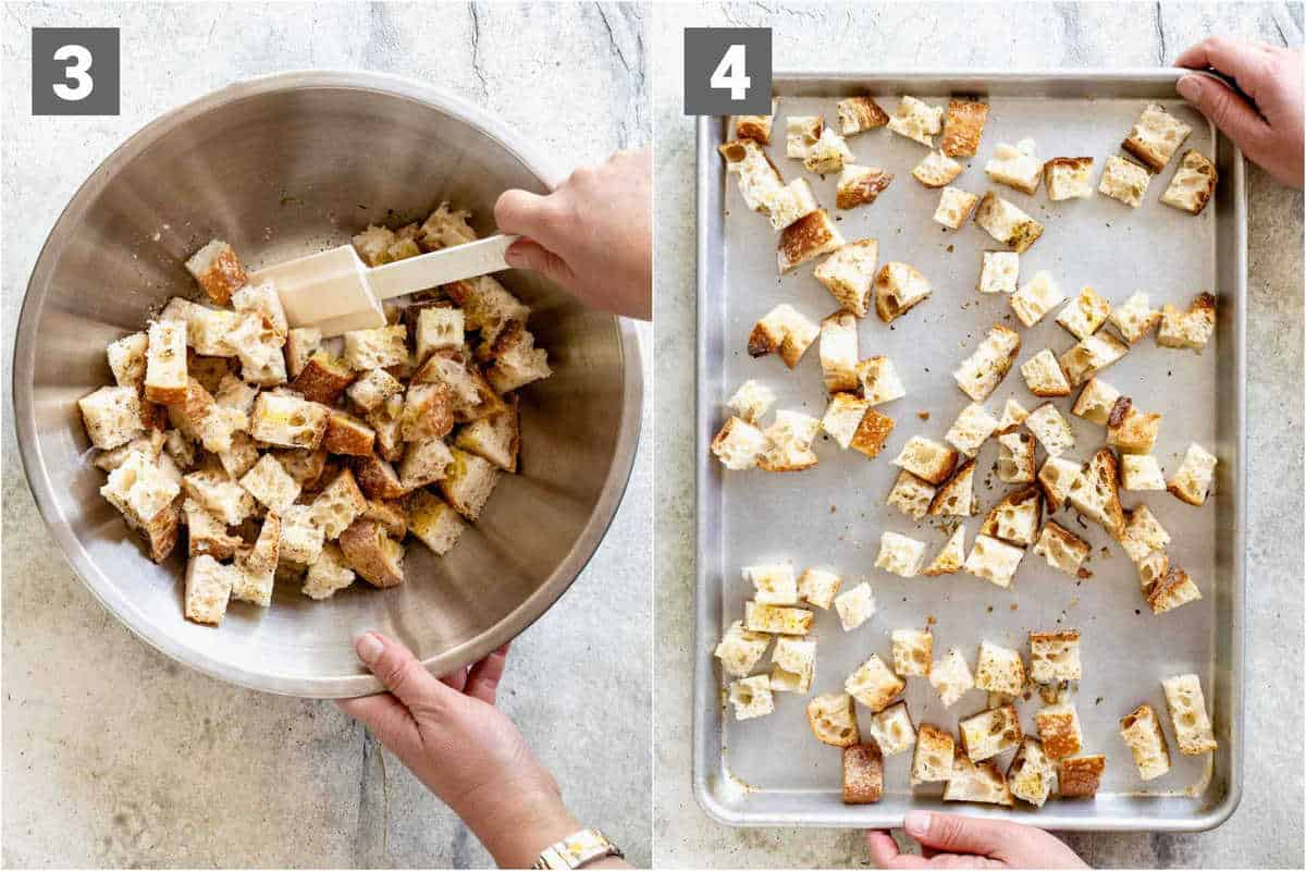 seasoning the croutons and then spreading them out on the baking sheet