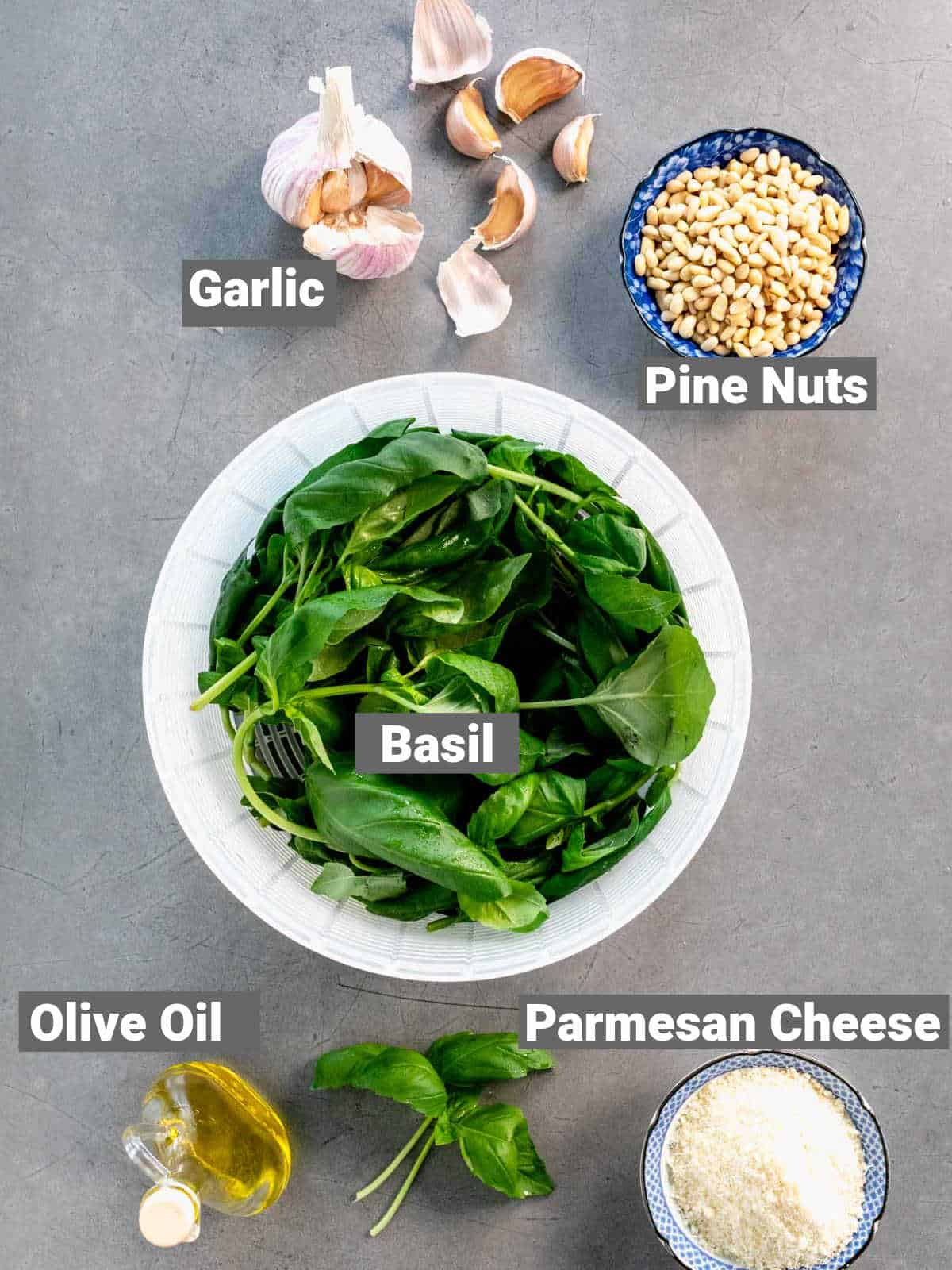 ingredients for basil pesto with labels