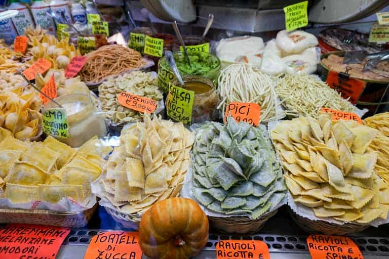 Fresh pasta at a food market in Italy