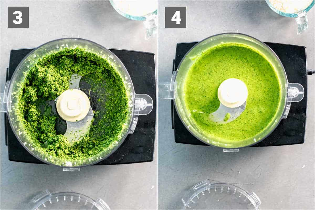 the pesto before and after oil