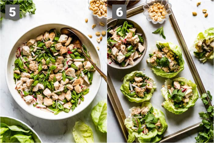 the sesame chicken mixture and then the assembled lettuce cups with peanuts
