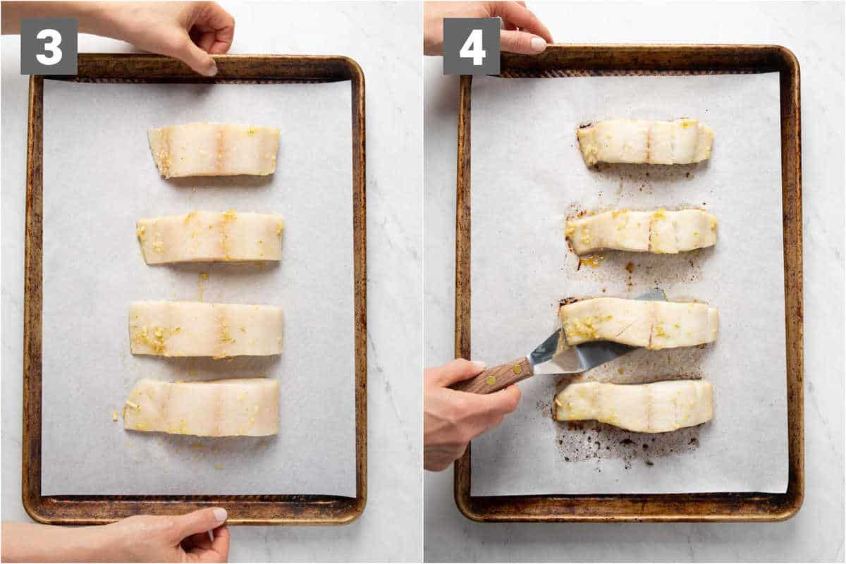 the fish before and after it is cooked on a baking sheet