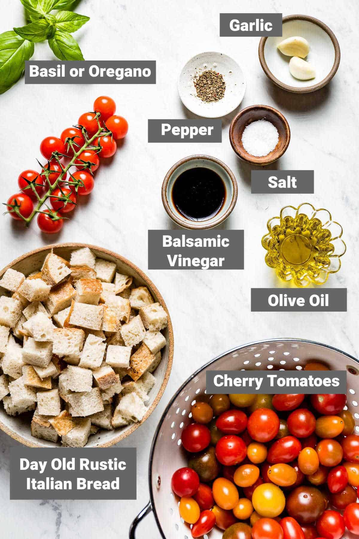 ingredients for Cherry Tomato Panzanella with labels
