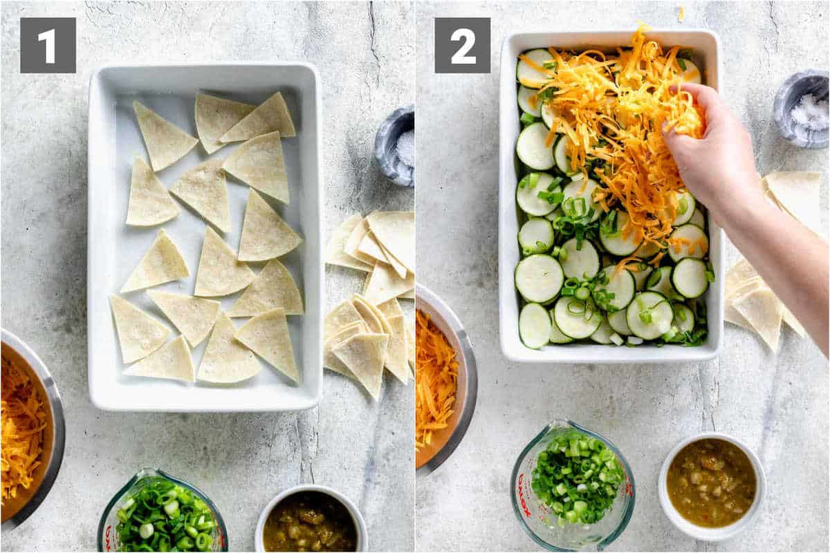 layer the tortillas in the bottom of the casserole dish to absorb the liquid before layering on the other ingredients