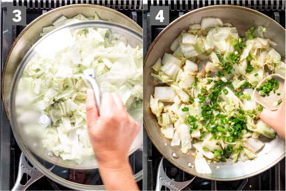 add the sherry and let steam, covered. Finish with scallions