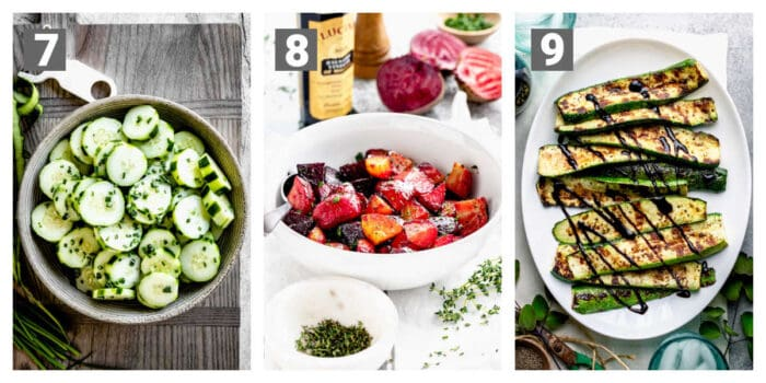 cucumber salad, roasted beets and grilled zucchini