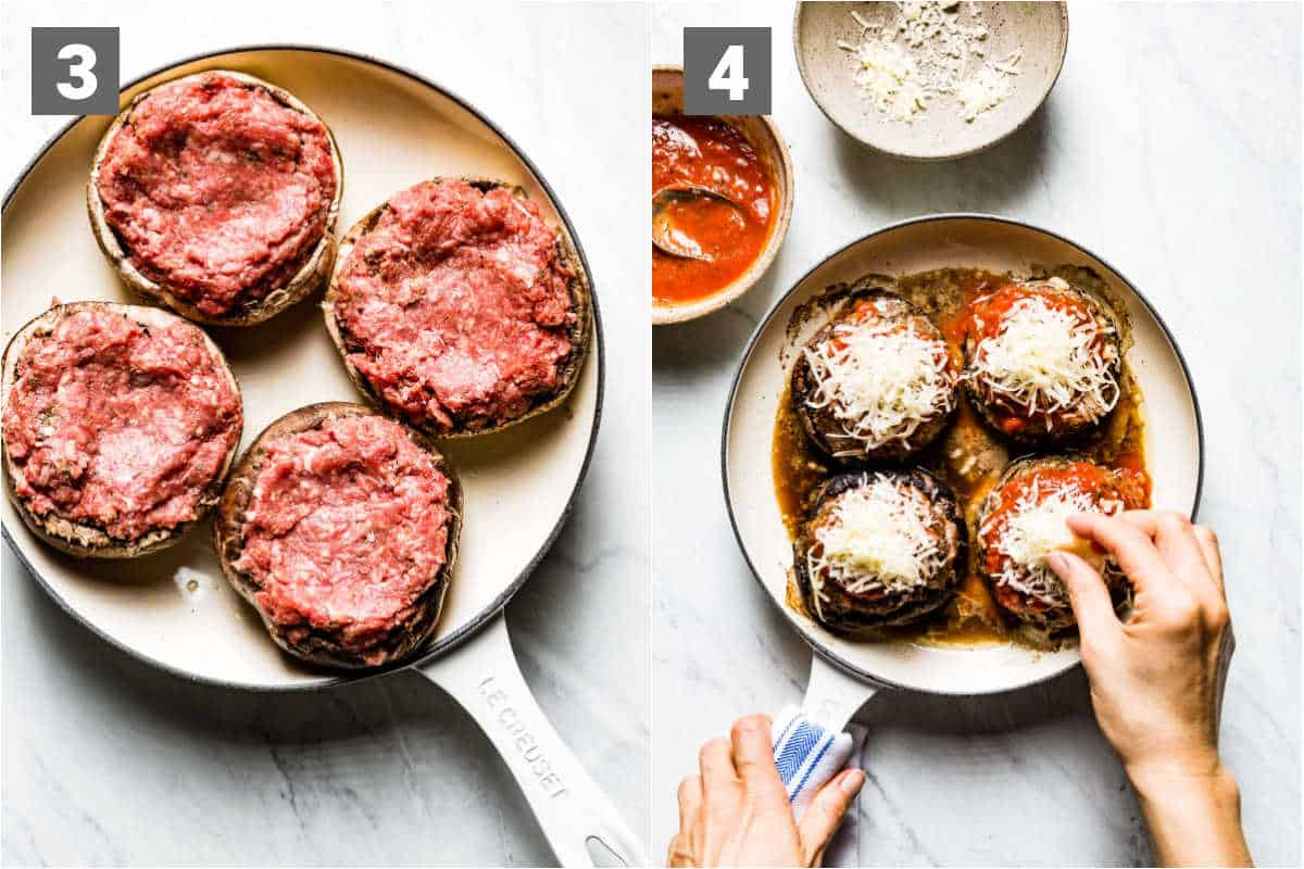 the stuffed mushrooms with beef in them before baking, and topping with cheese after they are baked