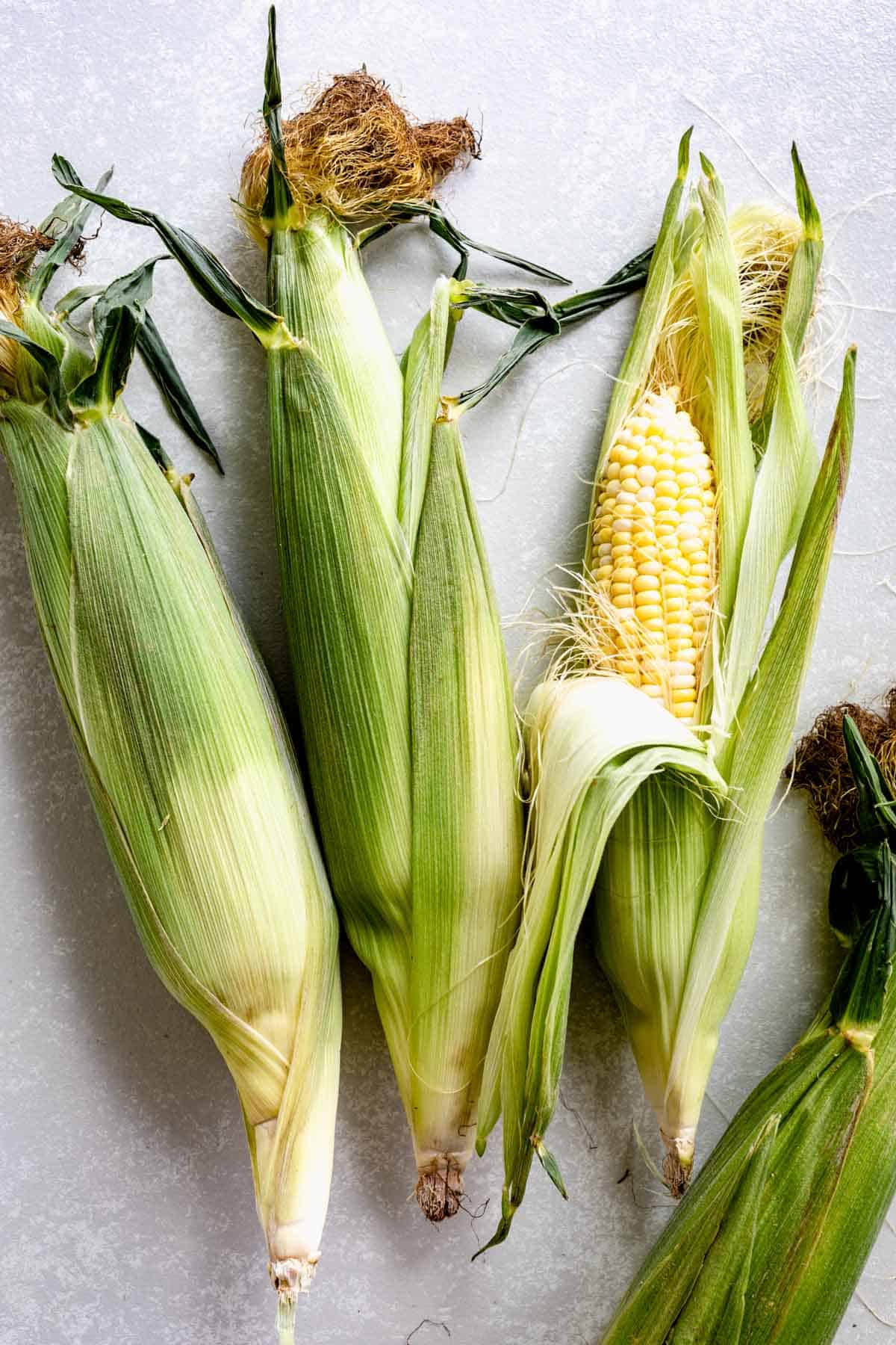 three cobs of yellow corn with green husks on a light colored table.