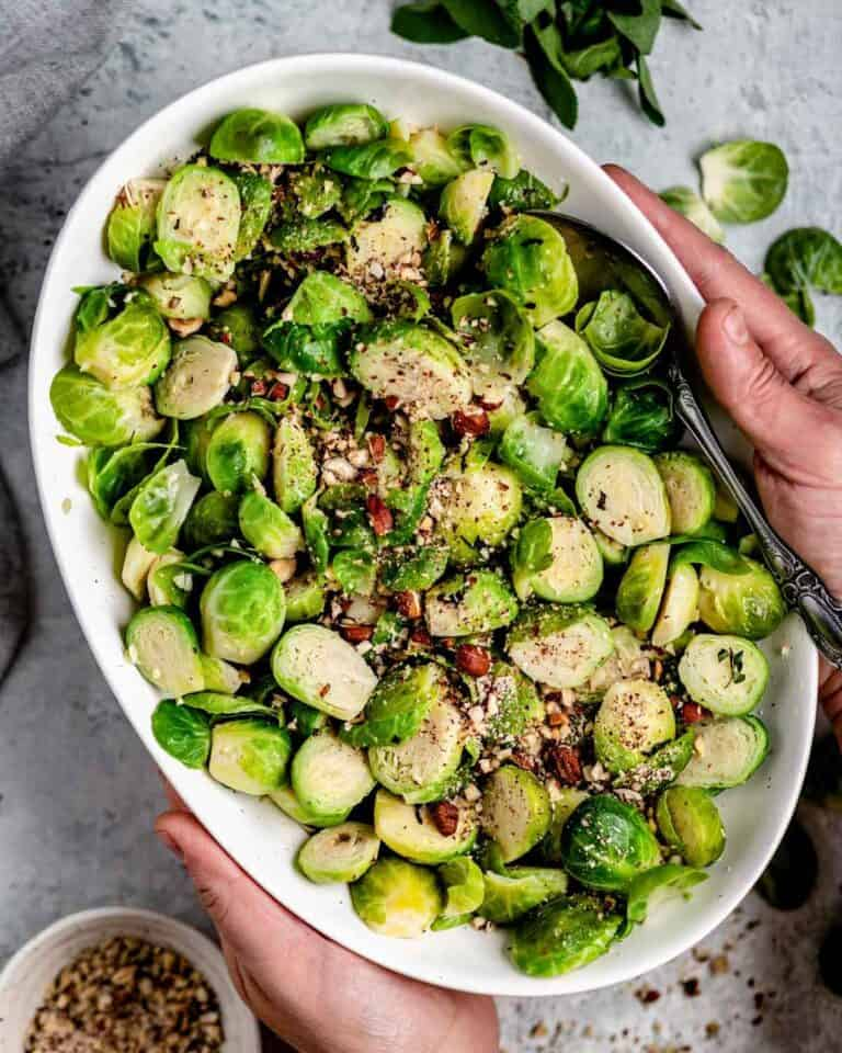 a bowl of hazelnut brussels sprouts