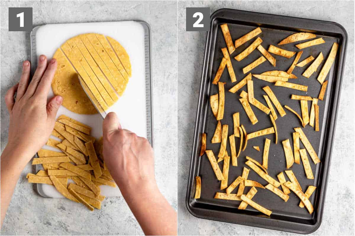 how to make the baked tortilla strips