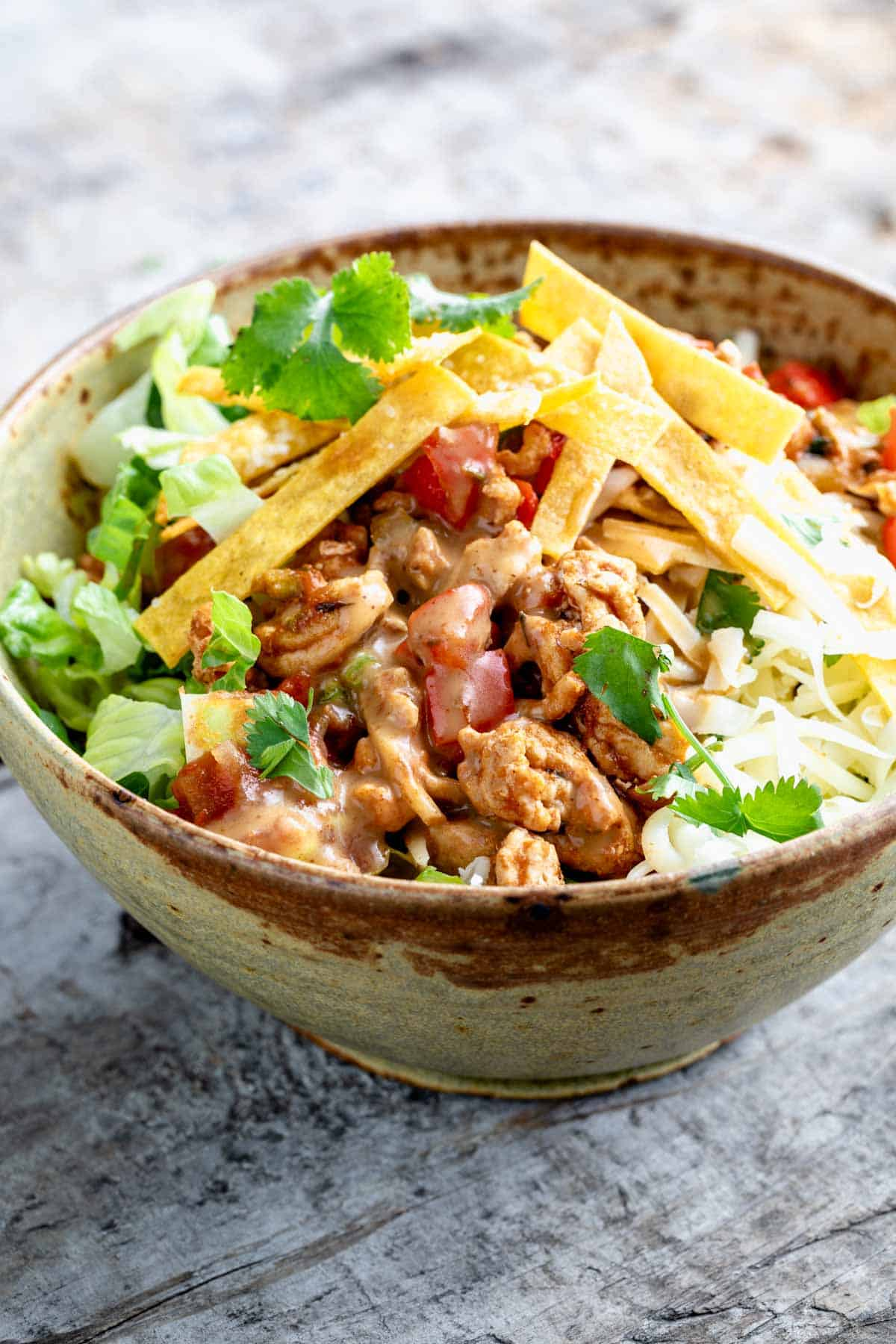 side view of taco salad