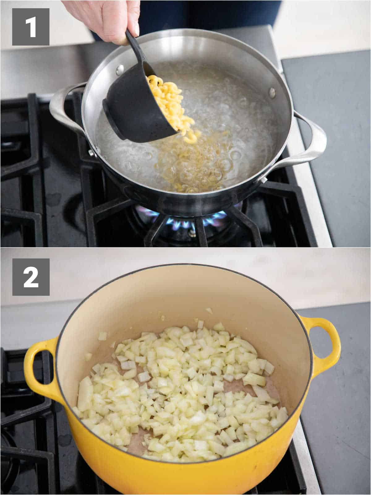 cooking the pasta and cooking the onions