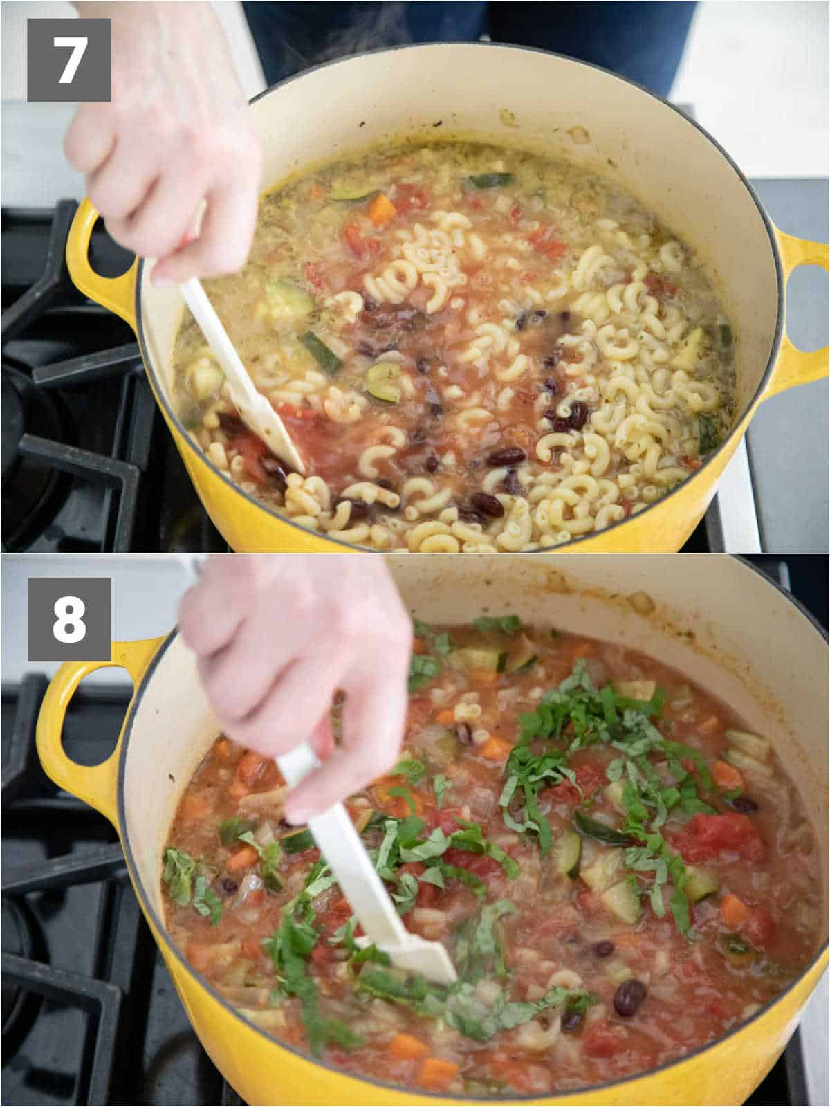 add beans and pasta add in basil
