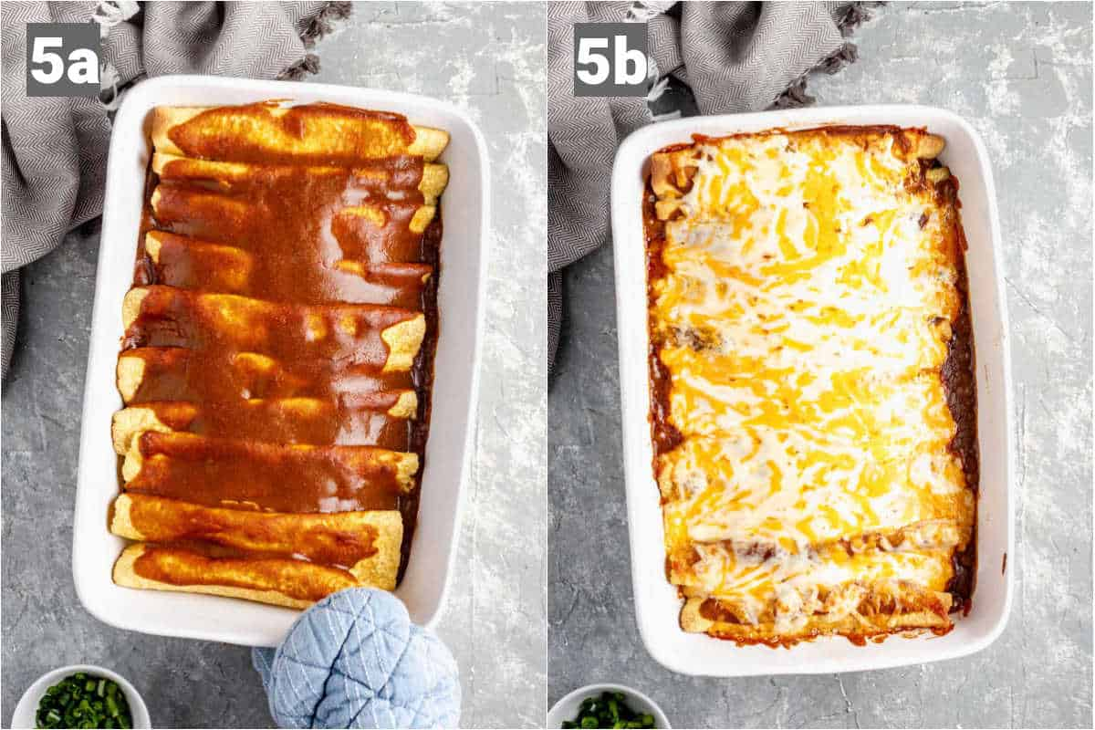 the enchiladas after baking without the cheese and then with