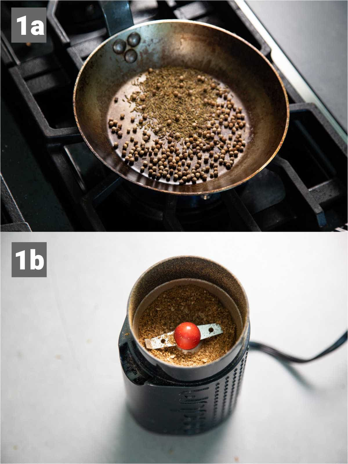 toasting the spices in a skillet and grinding them in a coffee grinder