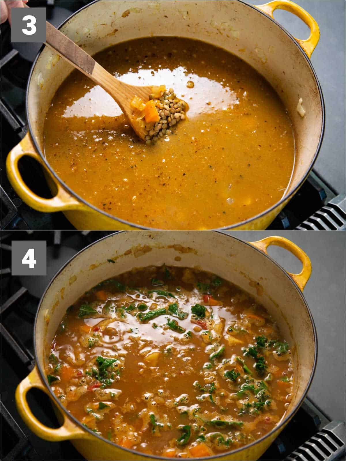 cook the lentils in the broth to soften them for 15 minutes