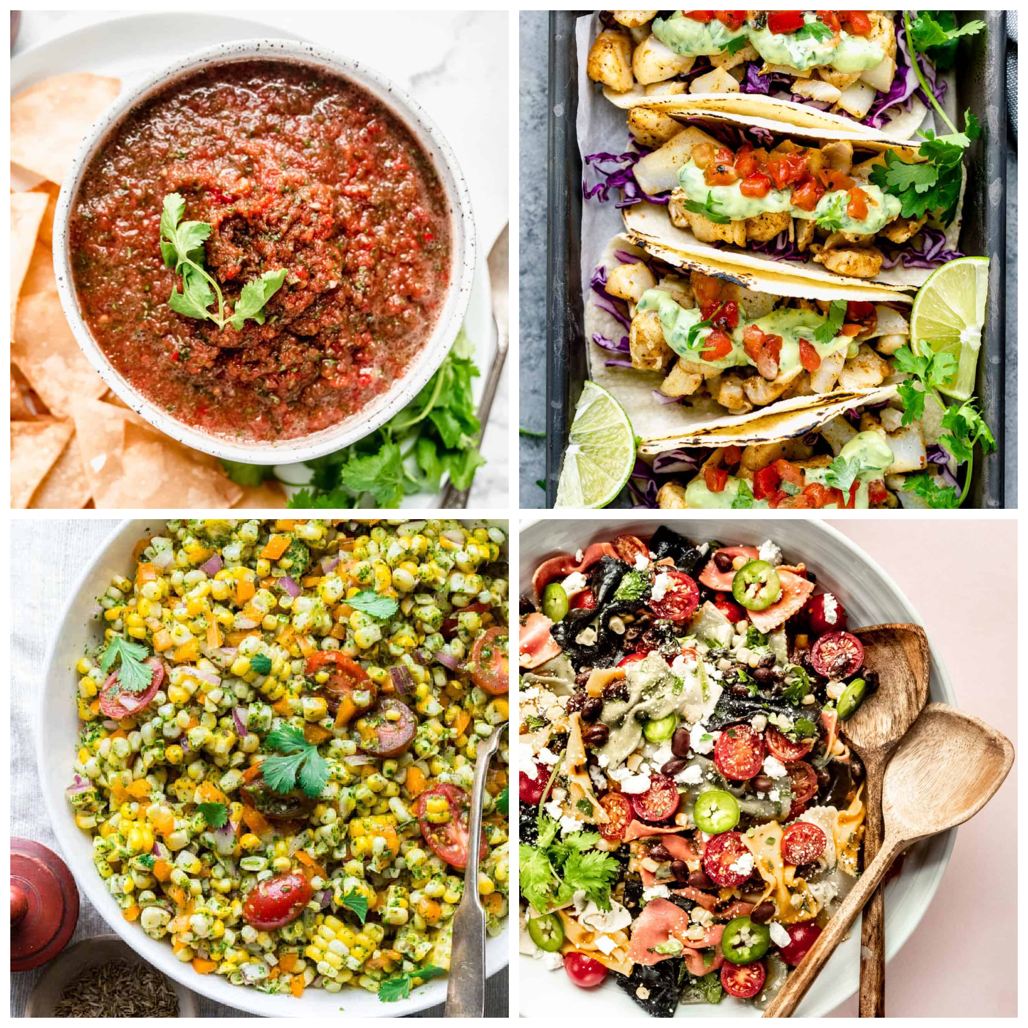 a collage of related recipes to try including fish tacos, salsa and corn salad